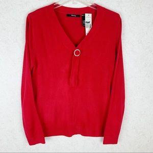 Ralsey rhinestone v neck red sweater